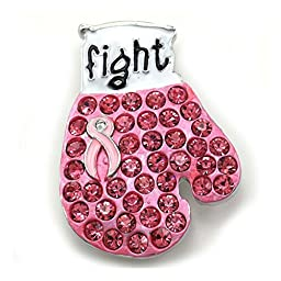 Rhinestone Rhodium Plated Pink Ribbon Breast Cancer Awareness Fight Boxing Gloves Brooch Pin INSPIRE