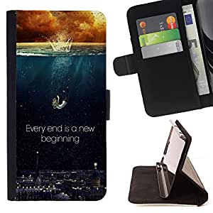 - Every end is a new beginning - - Style PU Leather Case Wallet Flip Stand Flap Closure Cover FOR Samsung Galaxy Note 4 IV - Devil Case -