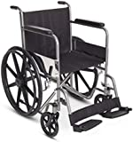 Deluxe Self Propel Wheelchair Travel Wheel Chair Transport Chair Steel Frame