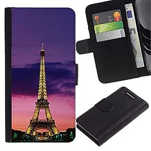 KingStore / Leather Etui en cuir / Sony Xperia Z1 Compact D5503 / Torre Arquitectura Luces cielo nocturno de París