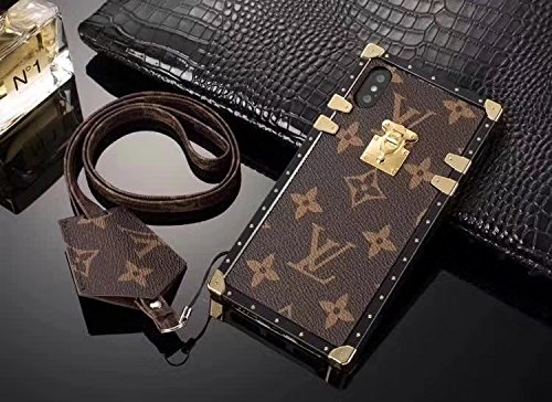Gucci Iphone (calbeebee iPhoneX -US Fast Deliver Guarantee FBA- New Elegant Luxury PU Leather Monogram Style Flip Cover Case For Apple iPhone 10 iPhone X ONLY (iPhoneX Brown Trunk Bag))