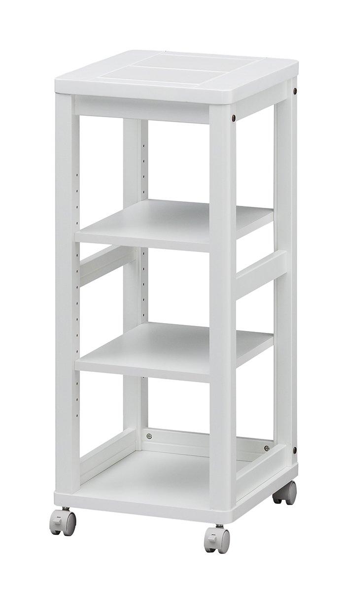 白井産業 【SHIRAI】 キッチンワゴン タイル天板 キャスター付き 白 幅約35㎝ 隙間収納 エレガントなセシルナ CEC-3540WWH B01J1GFAE4ホワイト