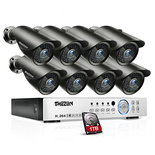 TMEZON 8 Channel AHD System 2.0MP 1080P HD Megapixel Security Camera HD-AHD DVR Kit with 1TB HDD 8 x 2.0MP 1080P Infrared Cameras (10 Channel Vga Video Splitter)