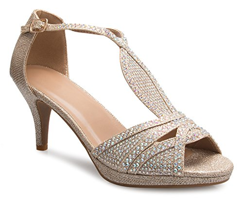 f2ca3dfc3ef4e OLIVIA K Women s Sexy Strappy Glitter Rhinestone Open Toe Heel Sandals -  Adjustable Buckle