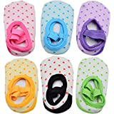6 Pairs of NonSlip Infant/Toddler Ballet Style Baby Girl Socks for 9-32 month.