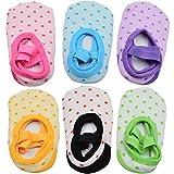 6 Pairs of NonSlip Infant/Toddler Ballet Style Baby Girl Socks for 9-32 month.
