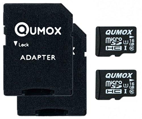 2pcs Pack QUMOX 16GB MICRO SD MEMORY CARD CLASS 10 UHS-I 16 GB HighSpeed Write Speed 12MB/S read speed upto 70MB/S