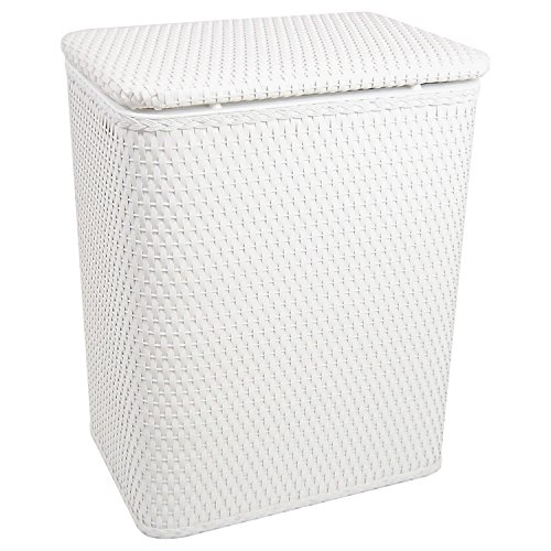 RedmonUSA Redmon for Kids Chelsea Pattern Wicker Nursery Hamper, White