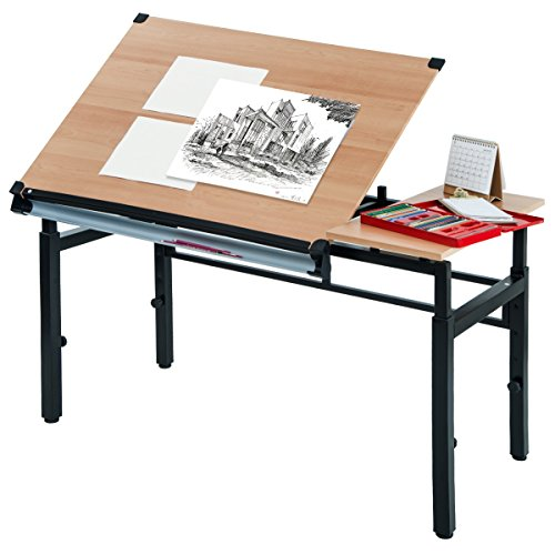 Harper&Bright Designs Drafting and Hobby Table Drawing Desk with Folding Top and Adjustable legs (Oak) by Harper&Bright Designs