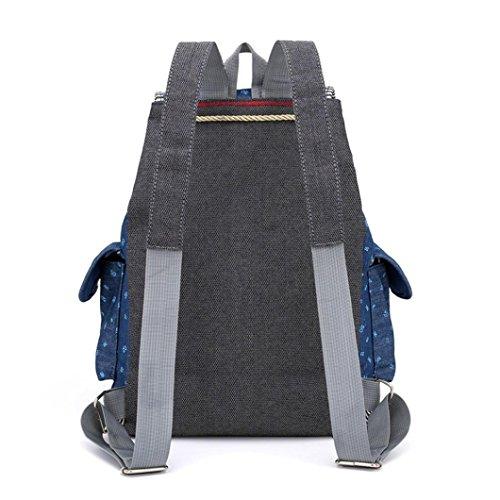 Sunshinehomely Women Girls Denim Drawstring Backpack Leisure Student Schoolbag Large Capacity Double Shoulder Travel Bag by Sunshinehomely (Image #5)