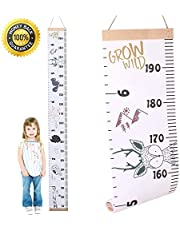 All About Kids Growth Chart, Wood Frame Fabric Canvas Height Measurement Ruler from Baby to Adult for Child's Room Decoration, 200x20 cm, with Colourful Animals, the Perfect Gift for Babies, Kids and Parents (Animals)