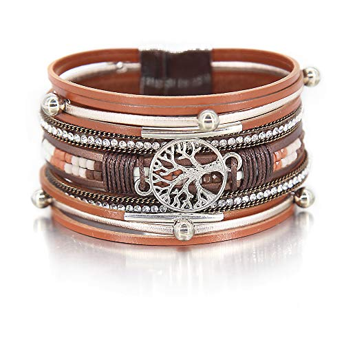Decorated Jewelry - rown Tree of Life Bracelet Bead Tube Resin Bracelet Clear Rhinestone Wrap Bracelet Leather Cuff Bracelet Braided Bracelet Boho Jewelry for Women Teen Girls