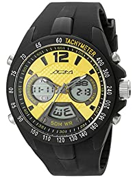 American Design Machine Men's ADS 4005 YLW Philadelphia Analog-Digital Display Japanese Quartz Black Watch