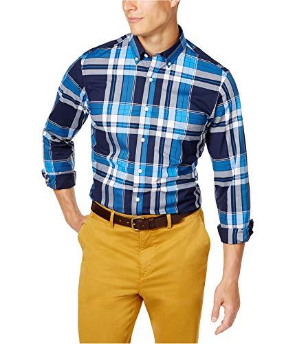 Club Room Men's Plaid Stretch Shirt (Navy Blue, S) from Club Room