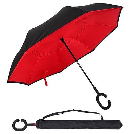Invertito paraguas, zoqi UV Invertito paraguas coche y viajes Tirador ca forma de paraguas doble capa paraguas antiviento muletas
