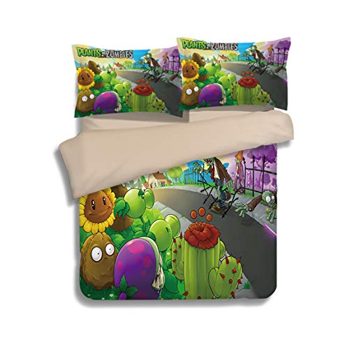 ZI TENG Plant Wars Zombie Duvet Cover Set 3D Children's Cartoon Bedding Set Best Gifts for Game Funs Bet Set 3-Piece Includes 1Duvet Cover,2Pillowcases Twin Full Queen King Size