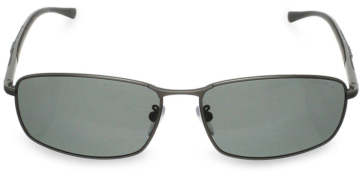 Police Herren S8650 Rechteckig Sonnenbrille, Matt Gunmetal Frame/smoke Lens
