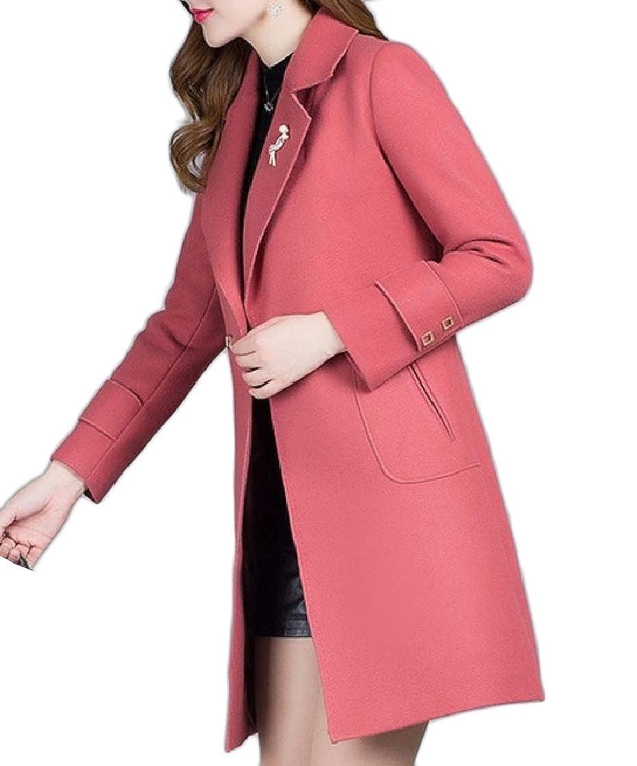 YUNY Womens Overcoat Trench 2 Button Notch Lapel Woolen Overcoat Outwear 2 L