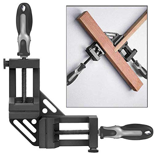 (WISION Double Handle 90° Right Angle Clamp/Corner Clamp with Aluminum Alloy Body, Upgrade Steel Nut for Welding, Quick-Jaw Corner Clamp for Wood-working, Photo Framing)