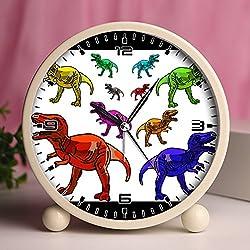 GIRLSIGHT Alarm Clock, Bedroom Tabletop Retro Portable Clocks with Nightlight Custom designs Dinosaurs 238_Multicolor T-rex Dinosaurs