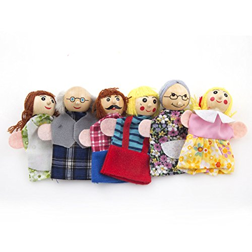 Emorefun Joe 6 pcs Story Time Finger Hand Puppets Baby Educational Cute Lovely Wooden People Family Member Puppet Toy (Talking Hand Puppet)