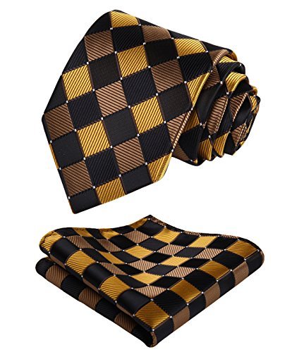 Enmain Check Jacquard Woven Mens Wedding Silk Tie Pocket Square Necktie Set Gold / Black