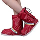 FEOYA Women Foldable Rain Gear Boot Shoes Cover for Bicycling Size XL-Wine Red