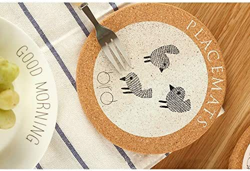 Cork Coasters Round Edge Coaster Set of 4 Animal Bird Drink Coasters Perfect for Most Kind of Mugs - Protect Your Table from a Liquid Ring 6.69 Inch