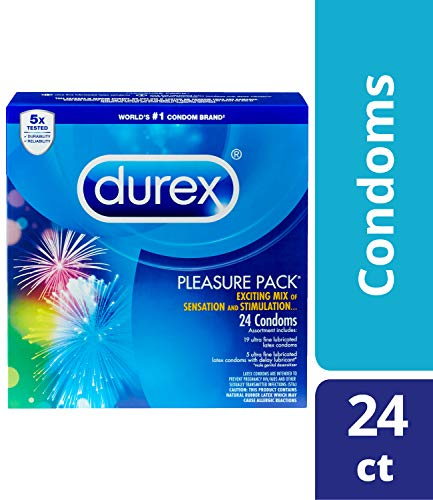 Durex Pleasure Pack-  Assorted Combo Pack Featuring Performax Intense, Intense Sensation, Extra Sensitive &Tropical Flavor Natural Latex Condoms, Sensation and Stimulation, HSA Eligible, 24 Count