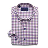 David Donahue Men's Relaxed Fit Multi-Color Windowpane Sport Shirt, Blue/Berry, X-Large