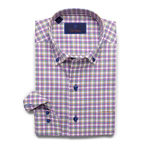David Donahue Men's Relaxed Fit Multi-Color Windowpane Sport Shirt, Blue/Berry, X-Large by David Donahue