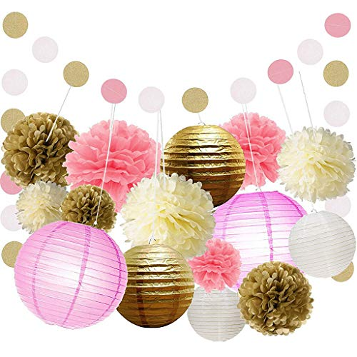 (16pcs /Set Party Decor Kit Paper Lantern Paper Circle Garland Pink Gold)