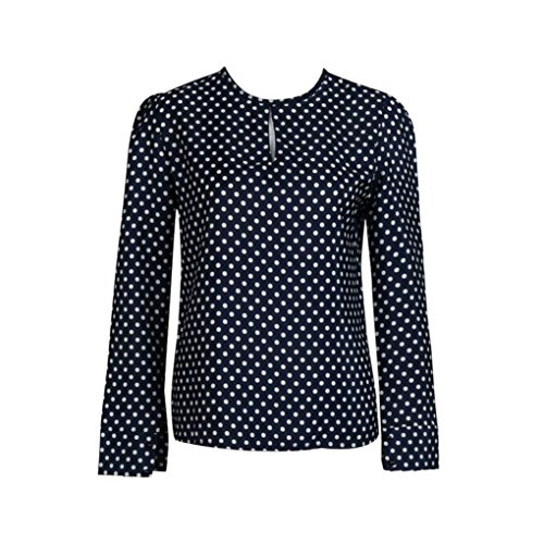 Hot Sale ! Beautiful Women Casual Long Sleeve Blouses, Ninasill Exclusive Summer Chiffon Polka Dots Shirt Tops (XL, Dark - Brands Expensive Famous