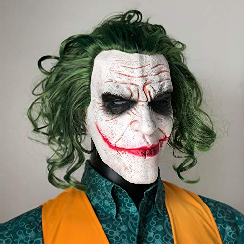 Halloween mask Joker Mask Movie Batman The Dark Knight Horror Clown Cosplay Latex Masks With Green Hair Wig Scary Halloween Party Costume Props