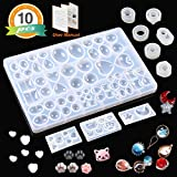 10 Pack Resin Silicone Molds LET'S RESIN Cabochons Molds for Resin, Clay, Jewelry Making -Resin Jewelry Casting Molds with Oval, Heart, Square, Circle Shape