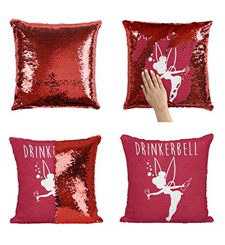 Drinkerbell Drunk Fairy_P251 Sequin Pillow, Funny Pillow, Sequin