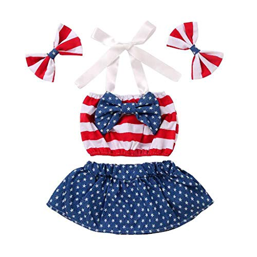 (Infant Baby Dress Skirt 4th of July Star Patriotic Striped Bow Tops Shorts +Headband Outfits Summer Holiday Party Red)