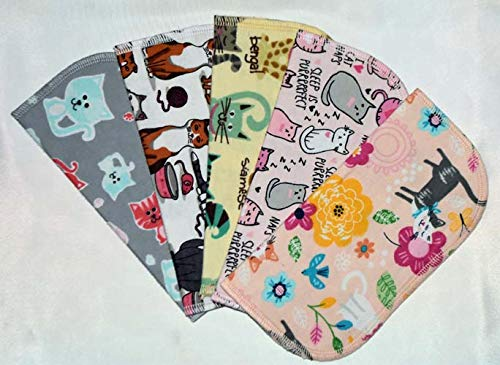 1 Ply Printed Flannel Little Wipes 8x8 Inches Set of 5 The Cats Meow 51qdSRDs2B3L