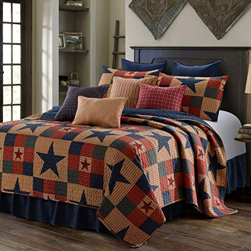 Virah Bella 3 Piece Mountain Cabin Stars Rustic 3 Piece Quilt and Sham Set (Blue, King) ()