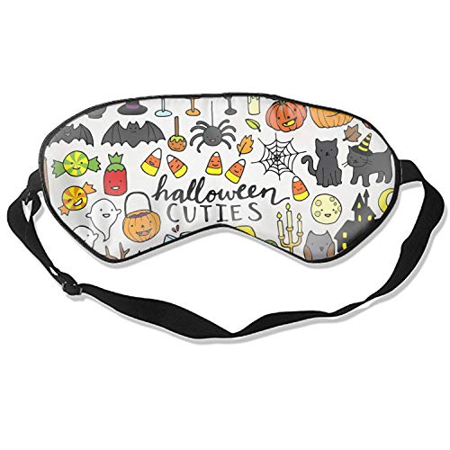 Sleeping Mask Set Eye Cover for Women Men Comfort Deep Eye Masks Best Lightweight Night Eyeshade Blinder Travel Airplane (Cute Halloween Clipart)