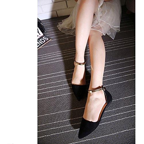 Meeshine Dames Dorsay Puntige Teen Enkelbandje Gesp Comfort Ballerina Ballet Flats Schoenen Zwart