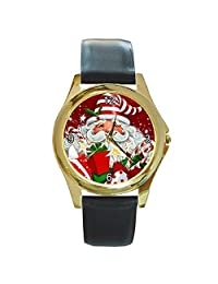 Christmas Modern Santa in a Striped Cap/ Hat on a Womens or Girls Gold Tone Watch with Leather Band