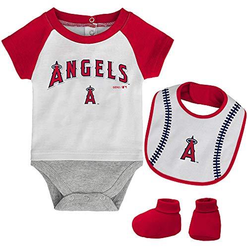 (MLB Newborn Baseball Kid Bodysuit, Bib & Booties Set - White (0/3 Months, Los Angeles Angels))