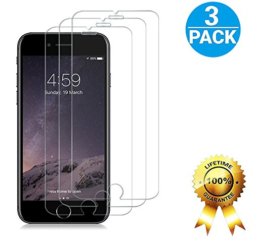iPhone 7 Screen Protector Glass, GFKing [ High Definition Clear][ 2.5D Round Edge][ 9H Hardness ] [3D Touch Compatible] Tempered Glass Screen Protector Only for iPhone 7 (3-Pack)