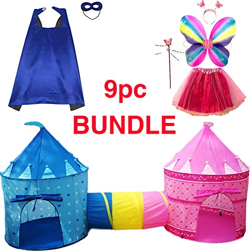 Playz 9-Piece Boys & Girls Dress Up Castle Play Tent Bundle with Crawl Tunnel, Butterfly Wings, Tiara Crown, Princess Wand, Tutu Dress Up Costume, Superhero Cape and Mask for Prince & Princess
