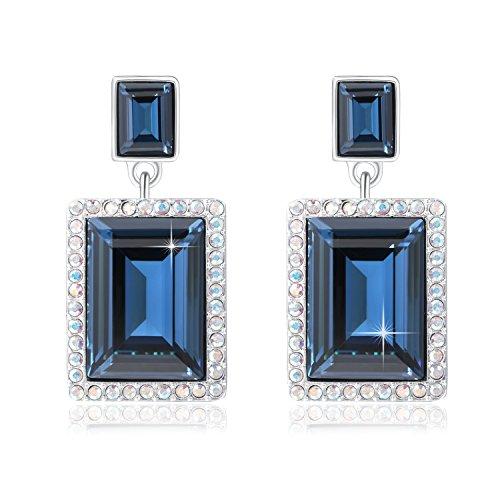 (SUE'S SECRET Frame Shaped Drop Dangle Earring With Swarovski Crystals, Ocean Blue Rectangular Crystal Stud Earrings, Woman/Girls Fashion Square Shape Crystal Jewelry, Luxury Earrings Gifts)