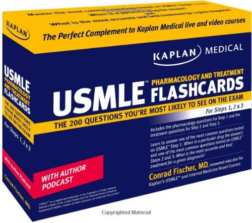 Kaplan Medical USMLE Pharmacology and Treatment Flashcards: The 200 Questions You're Most Likely to See on the Exam For Steps 1, 2 & 3