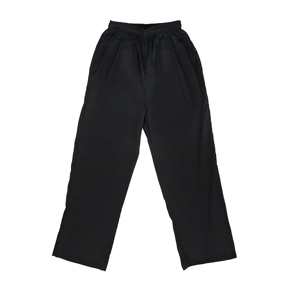 TopTie Men's Classic Black Chef Pants with Elastic Waist Drawstring CHIX-DK61120