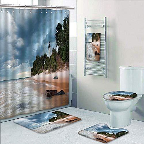 (Bathroom 5 Piece Set Shower Curtain 3D Print Customized,Lighthouse Decor,Au Sable Lighthouse in Pictured Rock National Lakeshore Michigan USA,Bath Mat,Bathroom Carpet Rug,Non-Slip,Bath Towls)