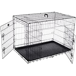 """Pet Trex 2193 ABS 42 Inch Dog Crate Double Door Folding Pet Crate Kennel for Dogs, Cats or Rabbits, 42"""""""